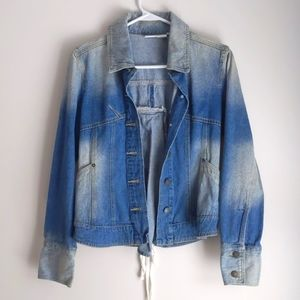 Faded Jean Jacket with Laced-up Back